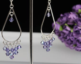Purple (Tanzanite Colour) Dangly Swarovski Earrings