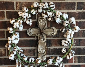 "Cotton and Cross 24"" wreath"