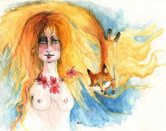a red haired girl with a fox, nude, erotic art, woman portrait,  original pen and watercolour painting