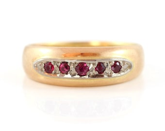 Antique Gold Band Ring set with Rubies, Ruby Ring, Antique Victorian Ring, Memento Mori Ring Inscribed
