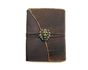 Leather book Gaucho lion gold Buffalo Leather - diary, journal, notebook or travel diary