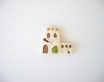 Magnet, refrigerator magnet, ceramic magnet, Southwestern magnet, adobe house magnet