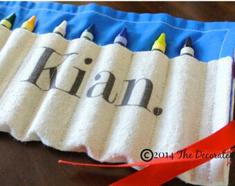 Personalized Crayon Roll, Personalized Birthday Favors, Fabric Crayon Roll, Birthday Giveaways, Stocking Stuffer, Personalized gift, Travel