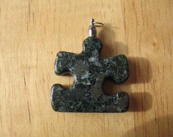 RA66 Autism Awareness Puzzle Piece Rock Pendant