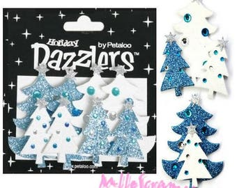 "Set of 7 Christmas trees 3D ""dazzlers"" Petaloo embellishment Scrapbook Paper *."