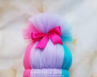 Customizable Satin Inspired Wig, Satin Hat, Poppy Wig, Branch Wig, Trolls Wig, Troll Wig, Satin And Chenille