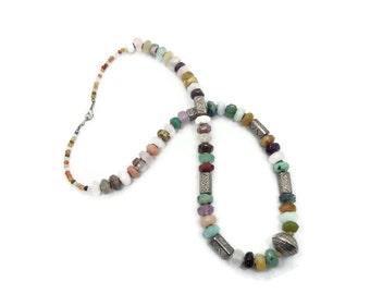 SALE Mixed Stone Necklace, Rose Quartz, Purple Amethyst, Gemstone Beaded, Long, Ethnic Tribal, Boho Statement, Silver, Multi Gemstone
