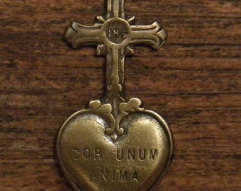 Antique French bronze religious cross medal pendant sacred heart ex voto one heart and one soul