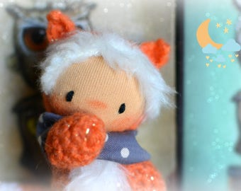 Waldorf doll, crochet fox plush, amigurumi fox, plush toy, miniature animal, woodland toy, nursery decor, stuffed animal, pocket fox doll