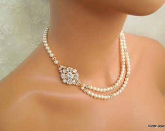 Pearl Necklace Bridal Necklace swarovski crystal rhinestone necklace wedding necklace statement necklace vintage style ivory pearl COLLEEN