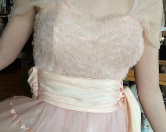 Original 1950's Light Peach Tulle and Satin Prom Dress, Wedding Dress, Bridesmaid Dress, or Party Dress