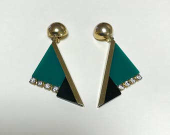 Vintage deco style clip on earrings