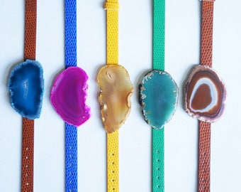 Agate + Leather Bracelet - Wrist Cuff Bright Bold Colors - Matching or Mix and Match Styles - Customization Available - Ship Ready