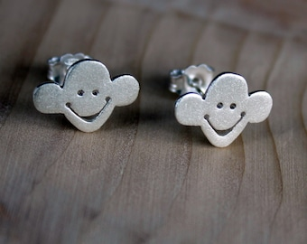 Monkey Studs-Silver Studs-Silver Monkey Earrings-Animal Jewelry-Jungle Earrings-Cartoon Jewelry-Monkey Jewelry-Valentines Day Gift