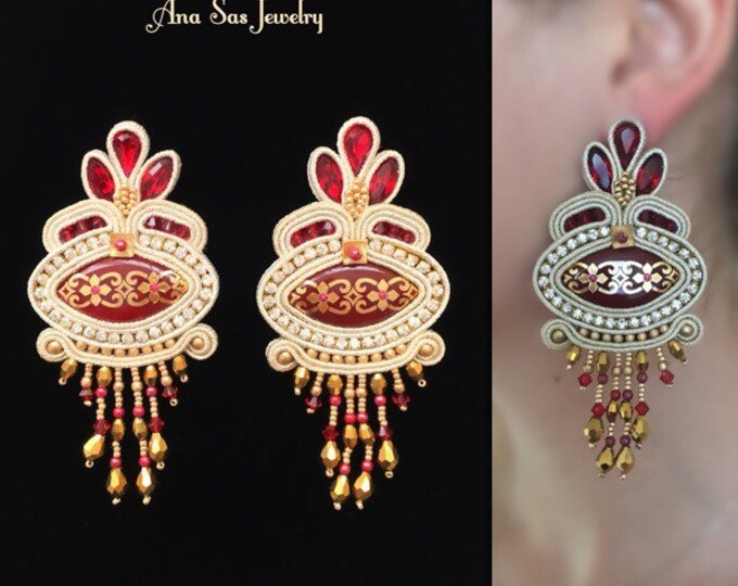 Statement red and gold soutache earrings, handmade cabochon, Swarovski crystals