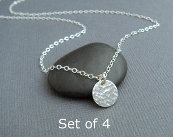 """bridesmaid gifts. Set of 4 - silver circle necklaces - tiny sterling silver necklace. hammered circle. simple wedding. 3/8"""". bridal jewelry"""