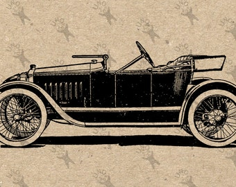 Vintage Old car oldsmobile drawing Digital printable Instant Download black and white graphic for iron on transfer burlap fabric HQ 300dpi