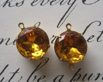 Topaz, 20MM, 2 Ring, Round, Crystal, Multi Faceted, Rhinestone, Open Backed, Brass, 4 Prong, Setting, Connector,