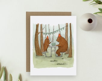 Birthday Cards Bear - Fathers Day Card Bear - Greeting Cards Bear - Notecards - Woodland Birthday - Watercolor Cards - Whimsical Cards