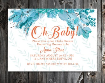 Oh Baby Blue Coral Baby Shower Invitation