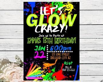 Glow party invites Etsy