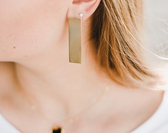 Bold Gold Bar Stud Earrings // Gold Plated Bar Earrings // Modern Bar Post Earringsc// Bar Stud Earring // Tower Bar Earring