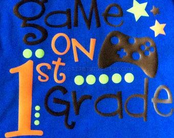 Game on first grade, first grade shirt, vinyl shirt, game on shirt, boys shirt, toddler shirt, video game shirt, back to school shirt