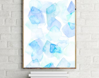 pastel art, pastel abstract, watercolor art print, Abstract art, blue abstract, abstract print, A2 print, A2 poster, A4 print, A4 poster