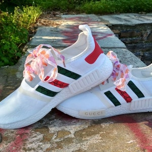 custom paint womens mens adidas nmd casual shoes gucci style white color  athletic run sneakers with