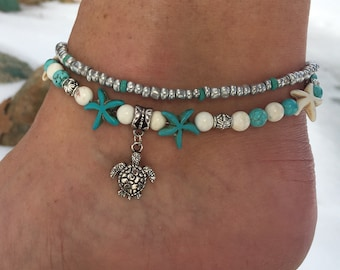 Beach Anklet, Ankle Bracelet, Turtle Anklet, Starfish Anklet, Anklets For Women, Nautical Anklet, Anklet, Beaded Anklet, Beach Jewelry