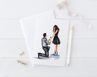 Bended Knee (Card)(Melsy Cards Sets - Engaged- Engagement - Wedding Cards - Birthday Cards Bridal Shower Cards- Engagement Card)