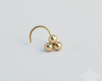 Solid Gold nose stud, Three dots stud, Solid gold nose ring, Tiny dot stud, Three dots stud, Cartilage, Gold piercing, Nose screw, Nose Ring
