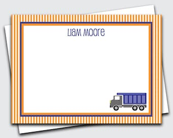 Personalized Note Cards for Kids / Dump Truck Stationery / Transportation Thank You Notes / Stationary Set for Boys / Blank (#1702-031FL)