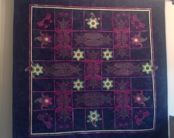 Art Quilt, Embroidered Quilt, Wall Hanging, Patchwork Quilt