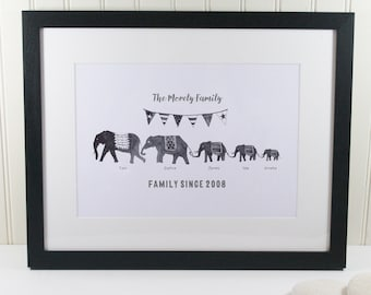 Monochrome Elephant Family Print - Personalised Elephant Print - Personalised Family Print - Watercolour Animals - Elephant Gift