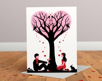 Tree of Love Greeting card - Anniversary Card - Wedding Card - Engagement Card - Valentines Card