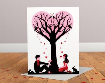 Arbre d'amour de voeux - carte anniversaire - carte mariage - fiançailles - Saint-Valentin carte