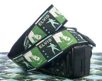 Camera Strap, Green Elvis, dSLR, SLR, Mirrorless, Canon, Nikon, Mens, Womens, Photographer Gift, Camera Neck Strap, Cross body, 179