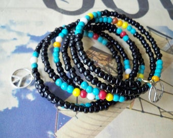 Black glass seed bead wrap bracelet - Mulit color beads -Peace sign charms - Boho chic - One wrap - Memory wire - bycat