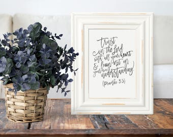 Proverbs Wall Art - Proverbs 3 5 - Trust In The Lord - Calligraphy Verses - Bible Verses - Calligraphy Print - Christian Art - Bible Print