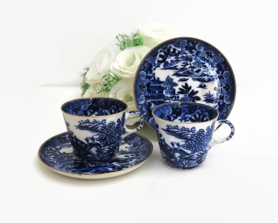 2 antique Spode Copeland demitasse cups and saucers, blue and white Chinese pattern, Mandarin, #1327, 1875-1890, Victorian, collectable