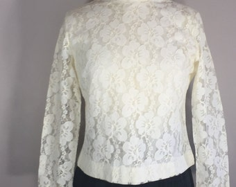 Judy Bond lace Top spring lighrtweighr  lace blouse formal garden party ivory lace blouse