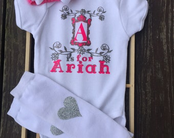 Custom made baby onesie, baby headband and warmers