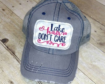 Lake Hair Don't Care Distressed  Raggy Patch Trucker Hat or Baseball Cap