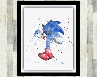 Sonic The Hedgehog Wall Art, ORIGINAL Watercolour Painting, Video Game Art, Boy's Room Decor, Sega, Men's Gift, Gamer Gift