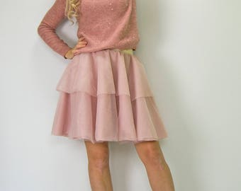 Adult  Tulle Tutu  Skirt with Wide  Elastic Band. Mommy and me tutu skirt. Blush Pink Tulle skirt for weddings. special occasions