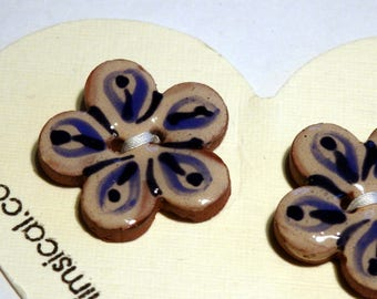 Handmade ceramic buttons -  pair of blue and cream handpainted  pottery buttons C82