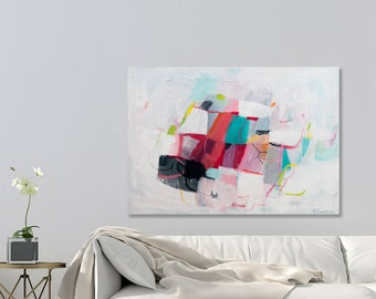 Large Abstract painting Original  Modern wall art, Large Wall Art, Large Canvas Painting, White Acrylic painting by Duealberi