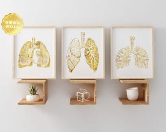 Lung Anatomy Art Print Set - Lung Art - Medical Student Gift - Anatomy Decpr - Medical Art - Medical Decor - Set of 3 - Medical Gift