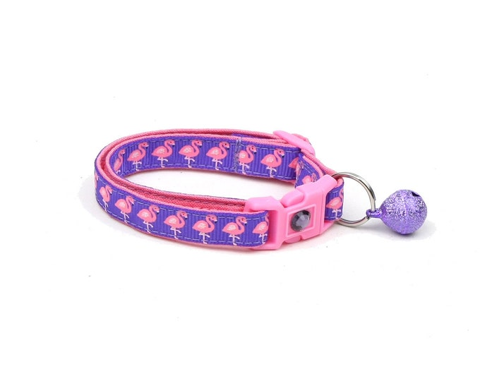 Tropical Cat Collar - Pink Flamingos on Purple - Kitten or Large Size